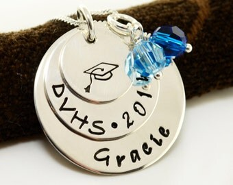 Personalized Graduation Necklace with School Colors, Sterling Silver Hand Stamped, Gift, Graduation, High School, College, Class of 2016