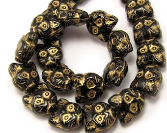 Jet Black with Gold 13mm Cat Face Czech Glass Beads 10pc #1638