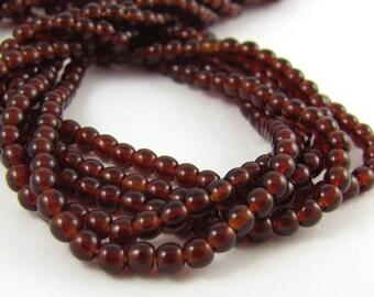 Brown Garnet 3mm Smooth Round Czech Glass Beads 100pc #667