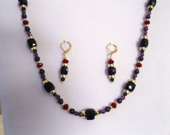 Natural Purple Amethyst Red Crystal  Gold  Necklace and Earrings Set