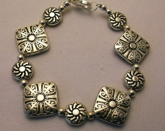 Carved Silver Disk 7.5 inch Silver Bracelet   One of a Kind   Free Shipping