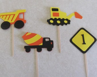Construction Cupcake Picks - Set of 12 - your choose AGE - Construction Birthday Party - Dump Truck