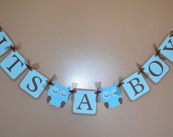 Its a Boy - Owl Baby Shower / Its a Boy Sign Banner