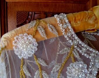 Vintage Sheer Glass Beaded Blouse