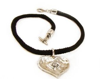 Black Rope Necklace, Large Heart Pendant Necklace, Silver Tone Heart Pendant