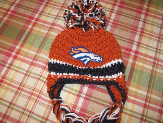 Crochet Braids Denver : Items similar to Crochet Beanie Baby Hat (Denver Broncos) Orange, Blue ...