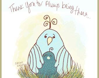 Mother's Day Card, Cute Chubby Birds