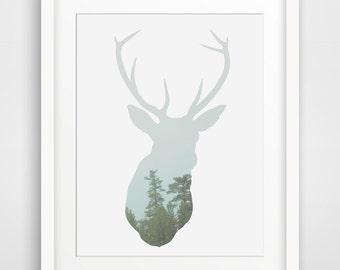Tree Art, Deer Head, Forest Print, Deer Artwork, Tree Prints, Deer Art, Printable Art, Wall Decor, Forest Art, Wall Prints, Deer Wall Art
