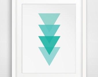 Turquoise Art, Blue Geometric, Blue Modern Art, Turquoise Wall Prints, Blue Artwork, Blue Triangles, Teal Geometric, Teal Modern Decor