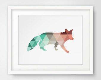 Fox Wall Art fox print fox wall art geometric animal print triangle home