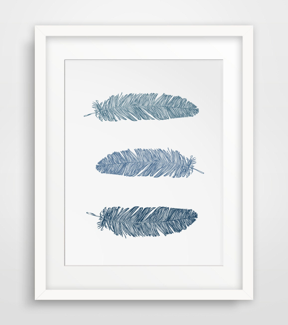 Navy Blue Feather Print, Feather Wall Art, Dark Blue Print, Blue Feather Wall