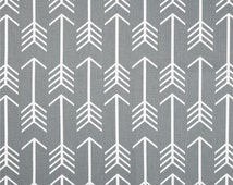 Ships Same Day Gray Arrow Fabric, Drapery Fabric, Gray and White Fabric, Arrow COOL GRAY Home Decor Fabric - by the yard