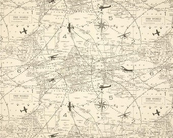 Map fabric etsy map fabric ships fast premier prints air traffic premier felix vintage plane airplane map gumiabroncs Image collections