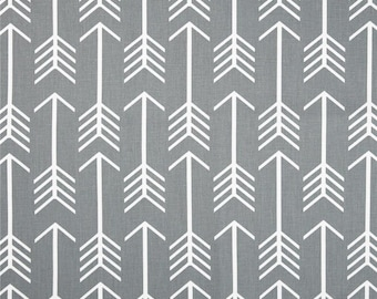 SHIPS SAME DAY Premier Prints Arrow Cool Grey Home Decora Fabric - White arrows on a gray background - Fabric by the yard
