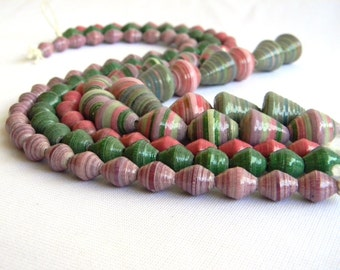 Paper Bead Jewelry Supplies - Hand painted - Lot of 118 - #386