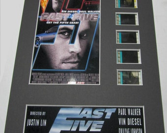 Fast Five 2011 (Fast & Furious) Frame Ready Matted Film Cells Standard Series 8x10 Display Presentation Paul Walker