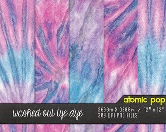 SALE Instant Download // Washed Out Pink + Blue Psychedelic Tie Dye Digital Paper Pack// Textured Hi Res Decoupage