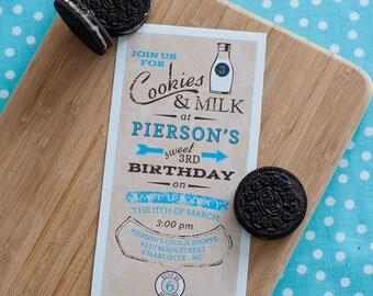 Vintage Milk and Cookies Blue Birthday - Printable Customized Invitation