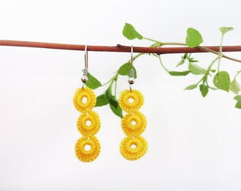 Crochet earrings Crochet jewelry Yellow jewelry Nickel free earrings Fiber earrings Fiber art jewelry Yellow earring Crochet earring jewelr