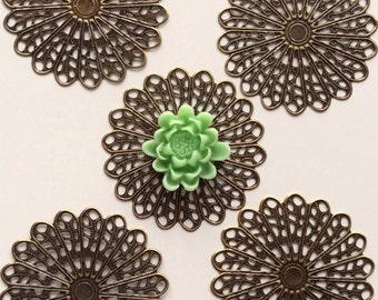 10 pcs 45 mm Filigree Pendants ,antique Bronze, brass Links,vintage filigree,Charm, Connector ,brass base setting, Great for cabochon flower