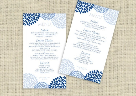 Printable Wedding Menu Cards Templates