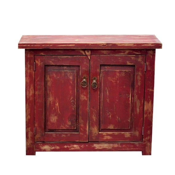 Red Rustic Bathroom Vanity 9514 By Foxdendecor On Etsy