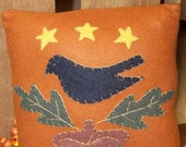 Hand Appliqued Wool Autumn Pillow with Crow and Acorn