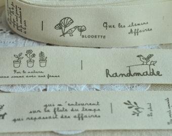 Cotton Ribbon 25mm(1'') x 5 Yards Sewing Trim Sewing Tape Label - Black Handmade Flower Tree Dog Y216