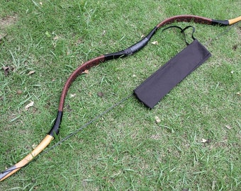 Handmade OX Horn Archery Traditional Hunting Longbow Leather Recurve Bow Brand Longbowmaker H2