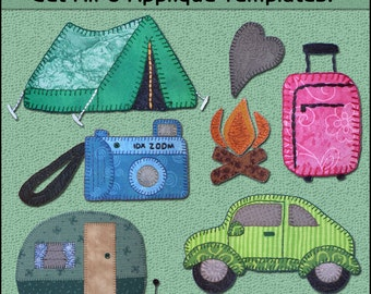 Vacation Applique Templates - Travel Applique Pattern - Camping Applique Template - Applique Template, Sewing Pattern, PDF Pattern, DIY
