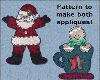 Santa Applique Templates, Gingerbread Applique Template, Christmas Applique Template, Applique Template, PDF Pattern, DIY