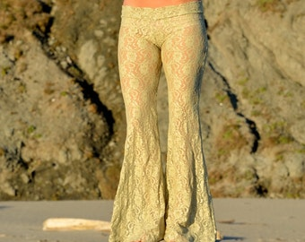 FLORAL shimmer gold stretch lace beach boho dance resort yoga festival burning man gypsy flare bell bottom pants or leggings