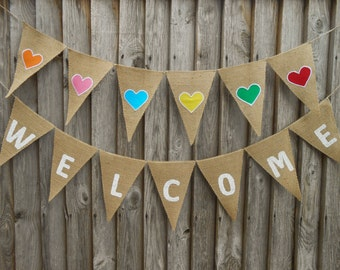 Welcome Banner Wedding Banner Welcome Sign Burlap Banner Birthday Welcome Banner Party Welcome Banner Wedding Decor