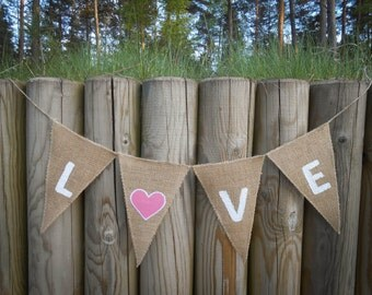 Love Burlap Banner Wedding Banner Love Bunting Love Garland Bridal Shower Banner Burlap Wedding Decor Wedding Garland