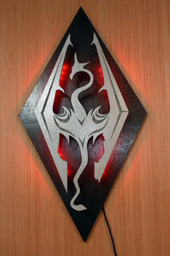 Items similar to Skyrim Imperial Symbol Dragon Lighted Wall Decoration on Etsy