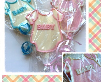 Baby onesie -baby Shower Custom chocolate lollipops-baby shower Favors
