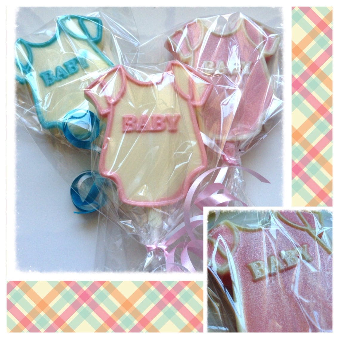 baby onesie baby shower custom chocolate lollipops baby
