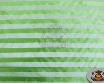 """Organza Stripes Fabric Neon Lime / 60"""" Wide / Sold by the yard"""