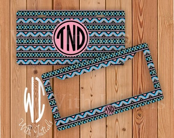 Aztec Pattern License Plate Or Frame Monogrammed - Monogram Chevron Car Tag Chevron Bike Accessory