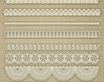 32 Cute Cream and Ecru Lace Borders Clip Art Pack Printable Instant Download for Personal and Commercial Use.