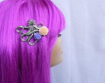 Steampunk Octopus Hair Clip with Purple and Peach Rose-Sailor Jerry The Kraken Pin Up Rockabilly Nautical Accessories