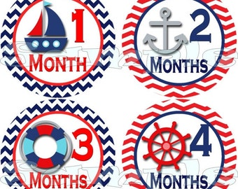 Nautical month to month stickers  Nautical belly stickers Nautical baby month stickers nautical monthly stickers sailboat red blue