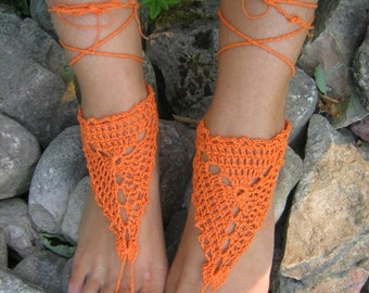 Sale  Barefoot Sandals Orange Crocheted Handmade Nude Shoes