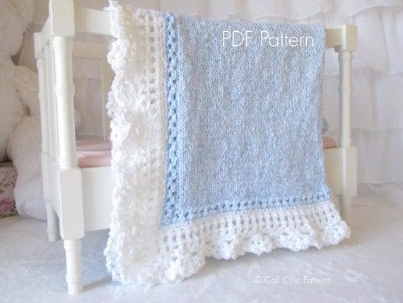 Royal Baby Dress Knitting Pattern : Knitting PATTERN 71 Royal Blue and White Baby Blanket