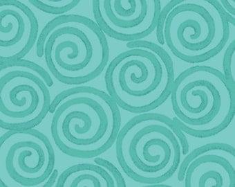 One Yard Curiosities - Whirligig in Aquamarine  - Little Girl Fabric Line Designed by Nancy Halvorsen for Benartex (W924)
