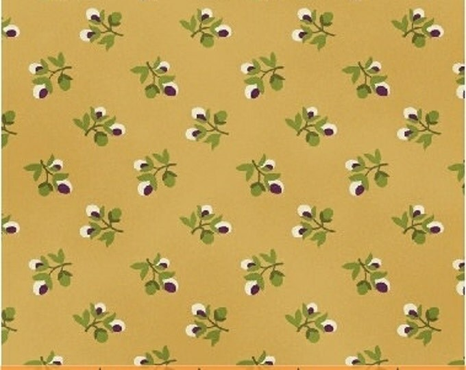 SUPER CLEARANCE!  7/8 Yard REMNANT - Flower Buds in Gold - Crazy For Shelburne Cotton Quilt Fabric - Windham Fabrics (W466)