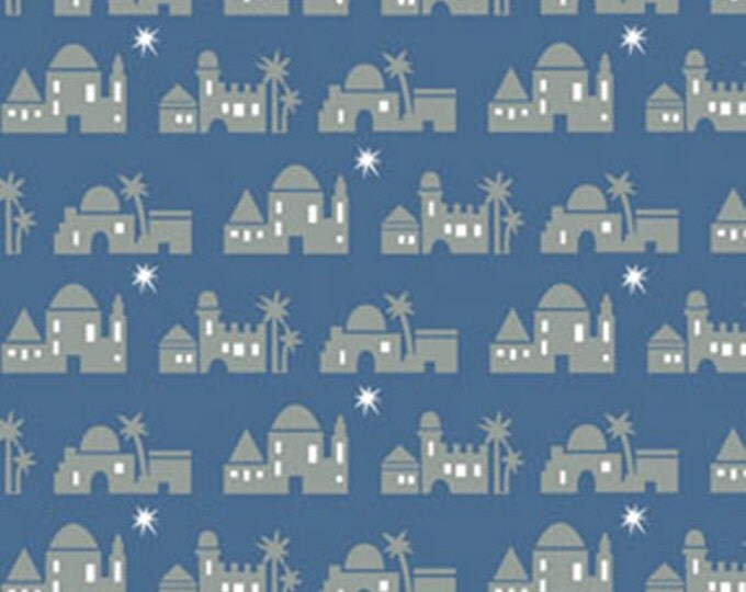 Half Yard Christmas Pure & Simple - Bethlehem Cobalt Blue - Cotton Quilt Fabric - Nancy Halvorsen for Benartex - Pure and Simple (W1791)