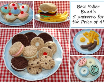 Best Seller Bundle - 5 Most  Popular Knitting & Crochet Patterns in One Bargain Bundle - Knitted Toy / Play Food
