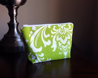 Makeup bag, cosmetic case, zipper pouch, clutch - Lime Green/Chartreuse Damask