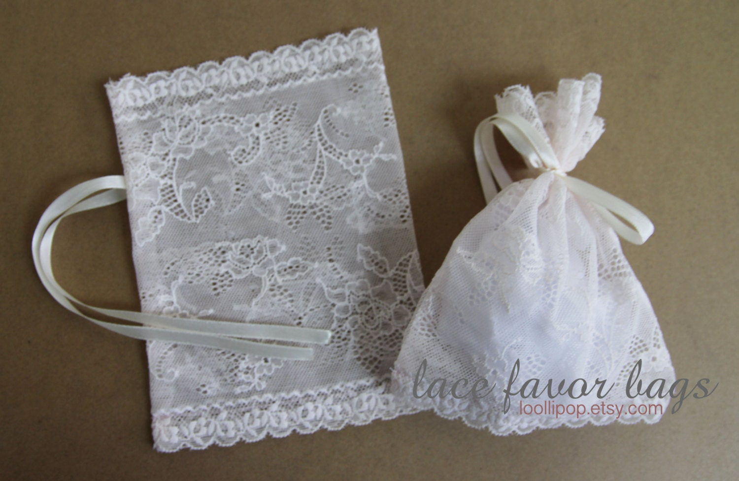 Light pink lace favor bags pale pink lace pouch wedding
